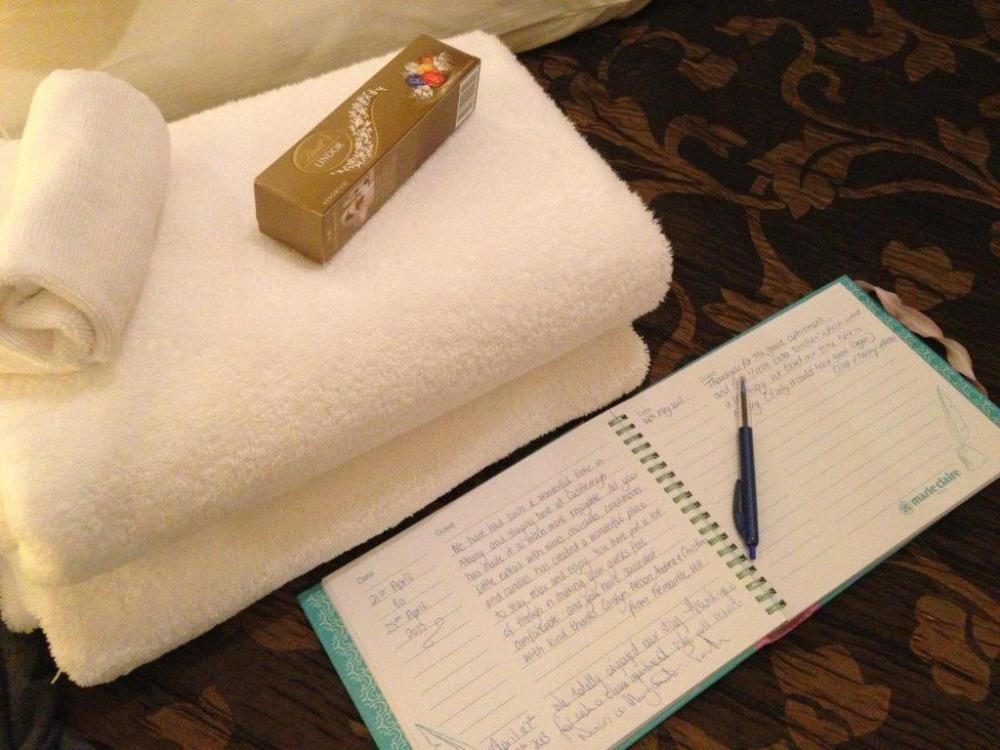 There's a guest book for me to write and chocolates!